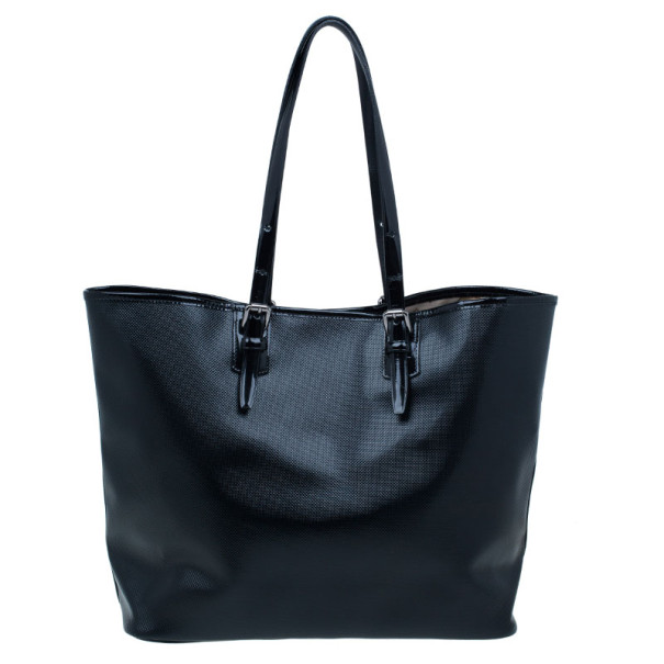 Longchamp Black Coated Canvas Medium Derby Tote