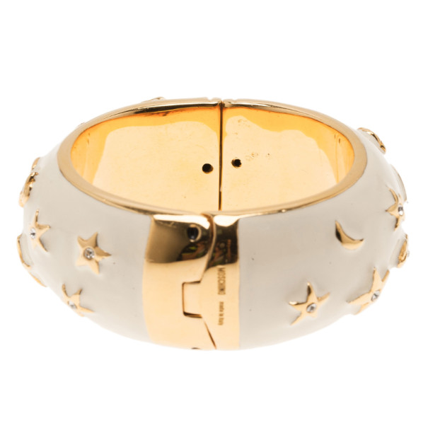 Moschino Moon and Stars Wide White Bangle 17CM