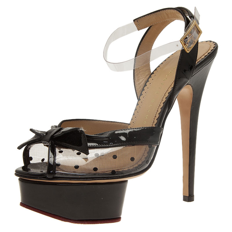 Charlotte Olympia Black Leather Dotty Ankle Strap Platform Sandals Size 36