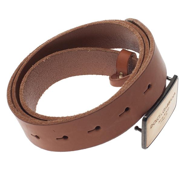 Dolce and Gabbana Beige Leather Logo Plaque Belt 105CM