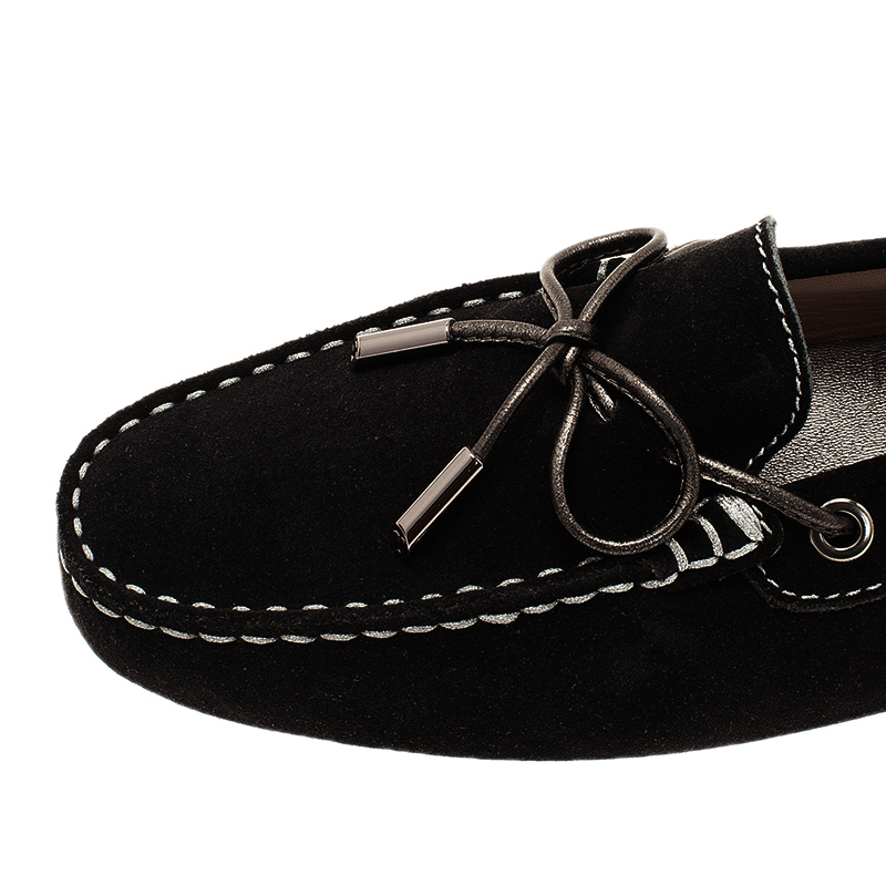 Tod's Black Suede Bow Loafers Size 39