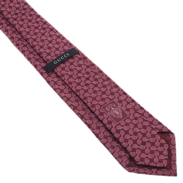 Gucci Red Paisley Print Silk Tie