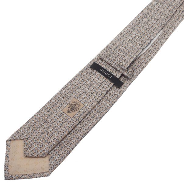 Gucci Beige Printed Silk Tie