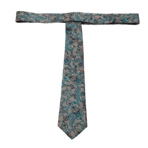 Gucci Blue Paisley Print Silk Tie