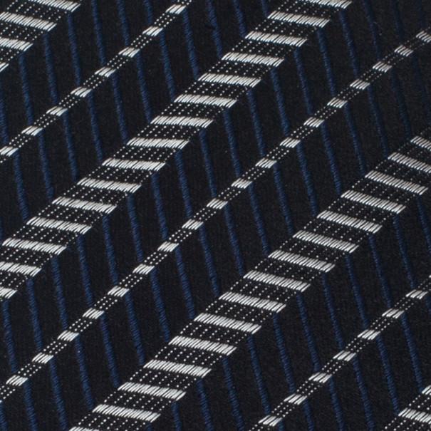 Giorgio Armani Black and Blue Zig Zag Print Silk Tie