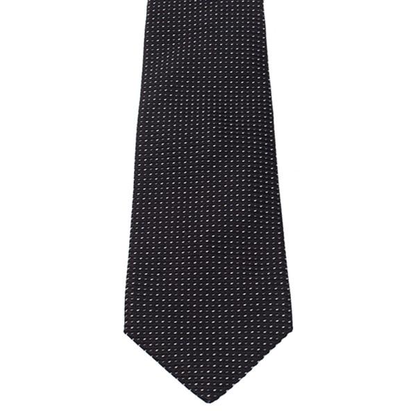 Giorgio Armani Black Polka Dot Woven Silk Tie