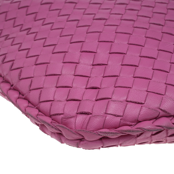 Bottega Veneta Pink Leather Small Intrecciato  Hobo