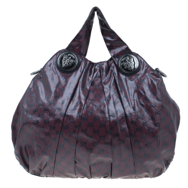 Gucci Maroon Crystal Monogram Large Hysteria Top Handle Bag