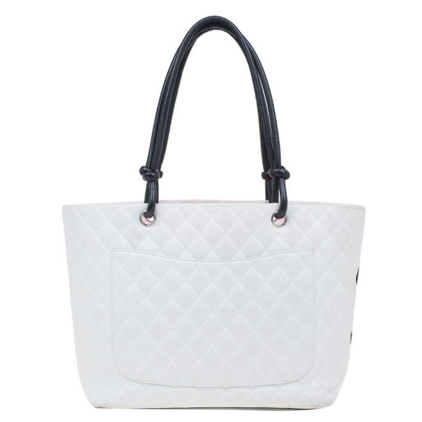 Chanel White Cambon Ligne Quilted Tote