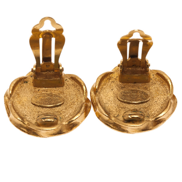 Chanel Vintage CC Enamel Gold-Tone Clip On Earrings