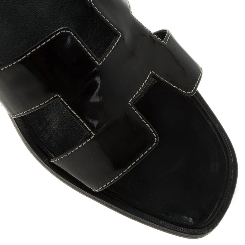 Hermes Black Leather Oran Flat Sandals Size 40.5