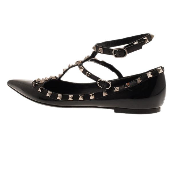 Valentino Black Leather Rockstud Ballet Flats Size 39