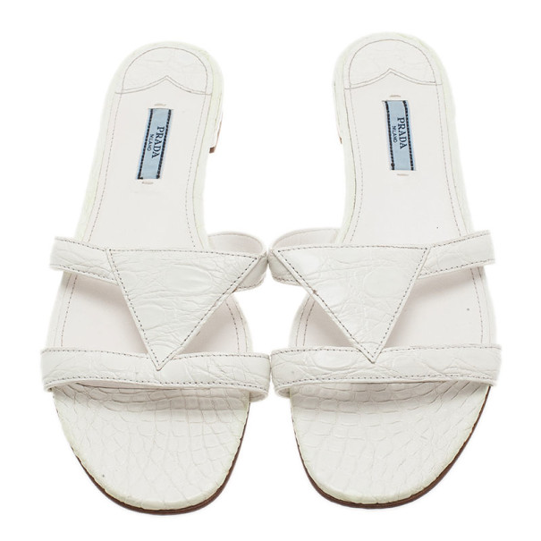 Prada White Croc Embossed Leather Flat Slides Size 40
