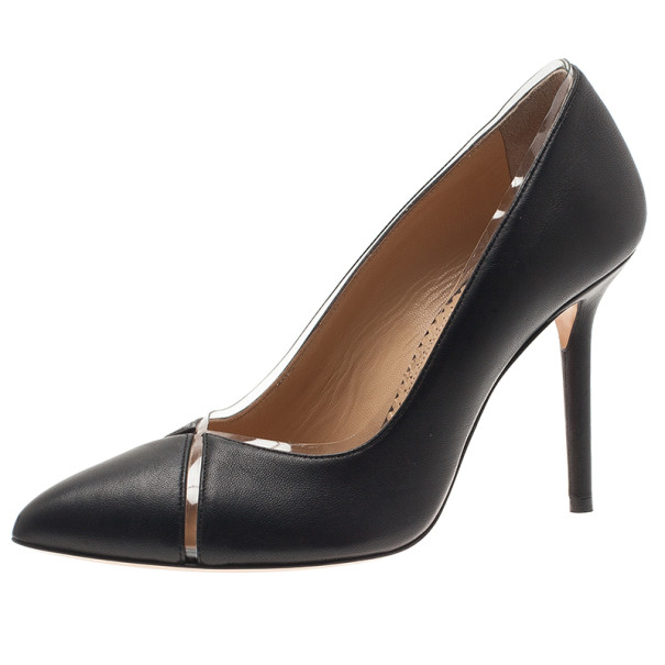 Charlotte Olympia Black Leather PVC Trimmed Natalie Pumps Size 38