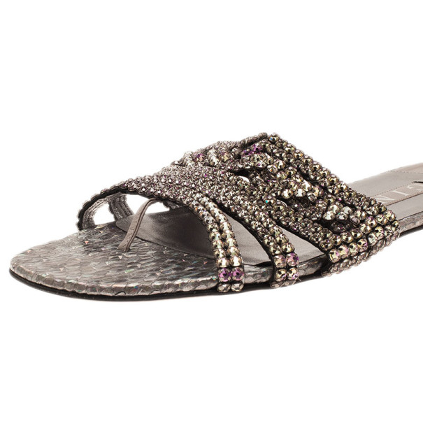 Gina Purple Diamante Embellished Flat Sandals Size 39