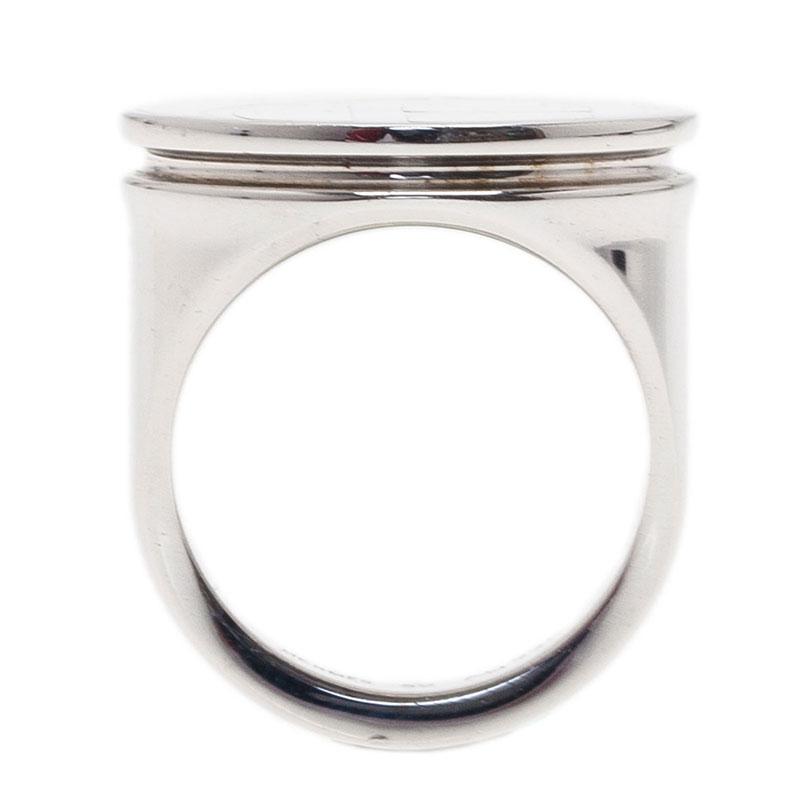Hermes Logo White Silver Tone Ring Size 52