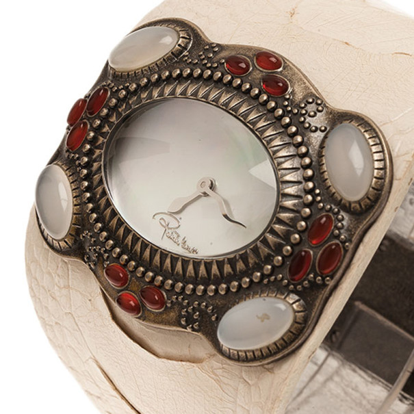 Roberto Cavalli Mother of Pearl Stainless Steel Oval Cuff Women's Wristwatch 53MM