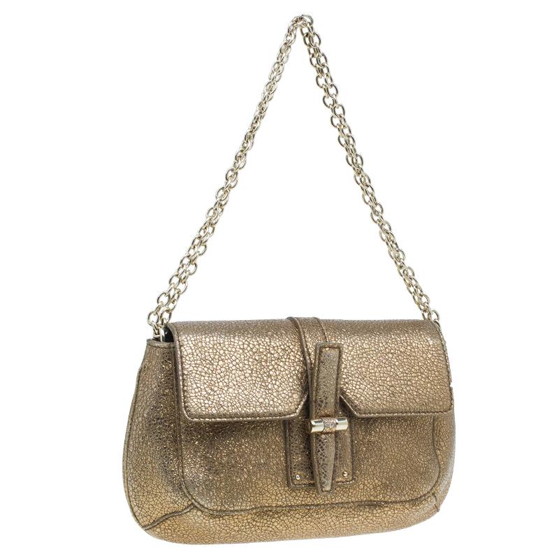 Saint Laurent Paris Metallic Gold Leather Emma Chain Shoulder Bag