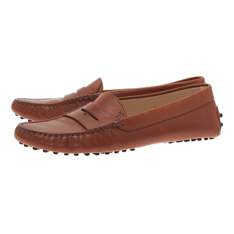 Tod's Brown Leather Penny Loafers Size 38