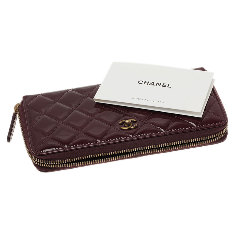 Chanel Burgundy Quilted Patent Leather Zip Around Wallet