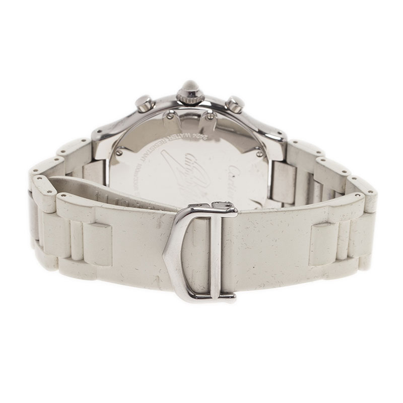 Cartier White Stainless Steel Chronoscaph Women's Wristwatch 38MM
