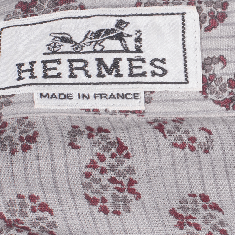 Hermes Men's Beige Printed Shirt L
