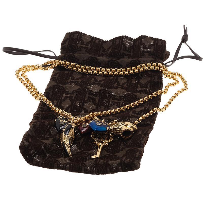Roberto Cavalli Multi Color Gold Tone Charm Long Necklace