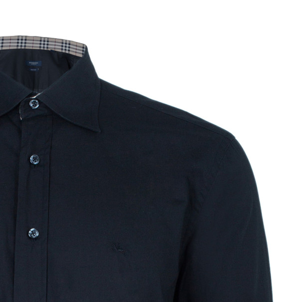 Burberry Men's Slim Fit Black Formal Shirt L