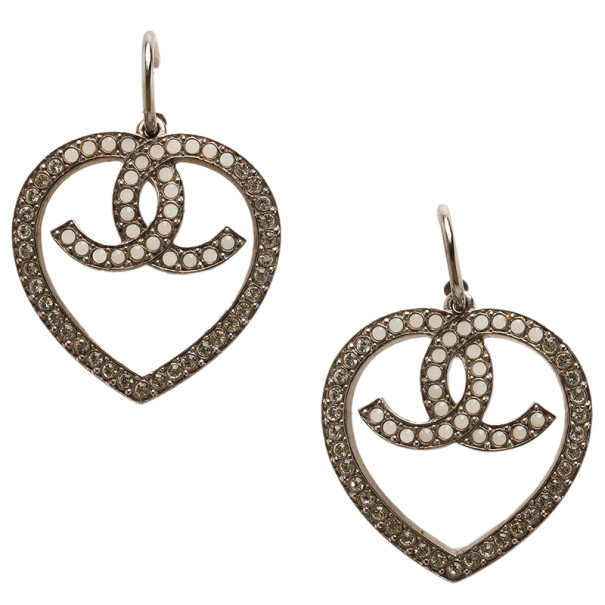 Chanel Heart Crystal Silver-Tone Earrings