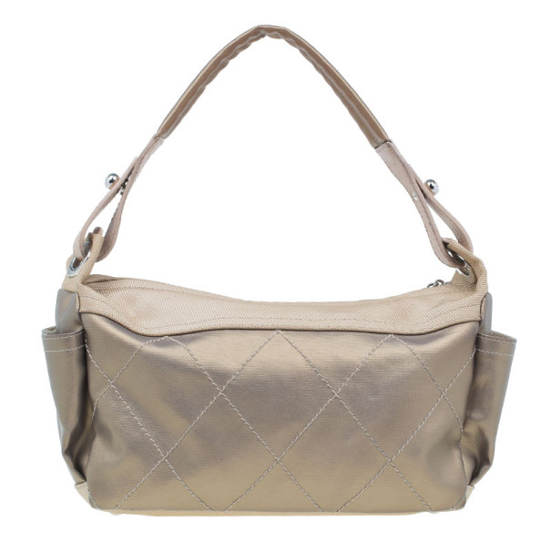 Chanel Metallic Gold Quilted Canvas Hobo