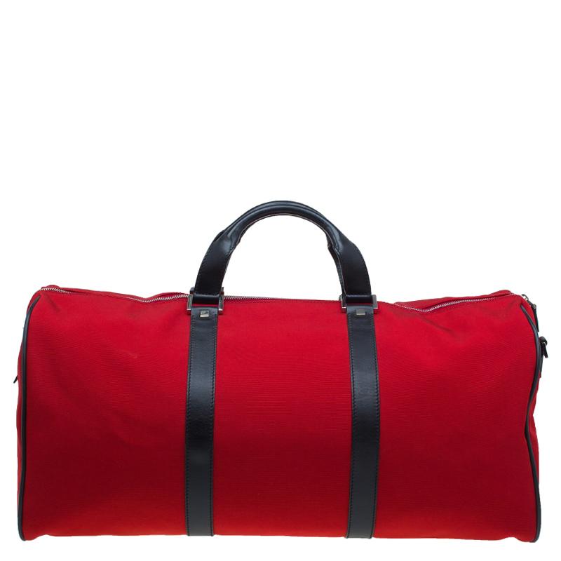 Gucci Red Nylon Travel Boston Bag