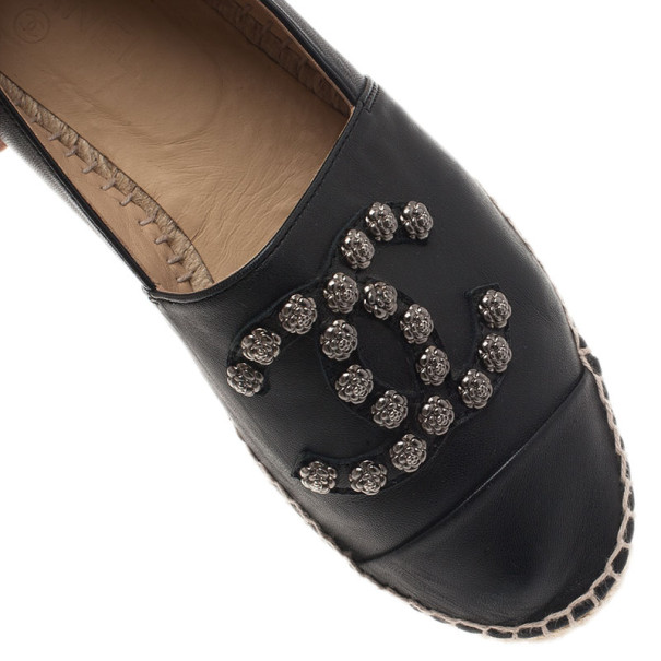 Chanel Black Leather Camellia Studded Espadrilles Size 40