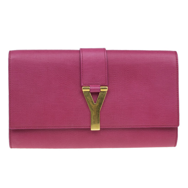 Saint Laurent Paris Pink Leather Large CHYC Clutch