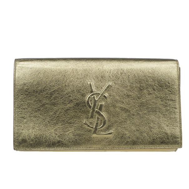 Saint Laurent Paris Gold Patent Belle De Jour Flap Clutch