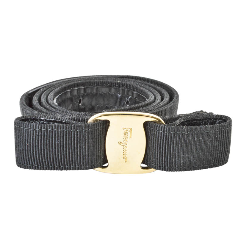 Salvatore Ferragamo Black Leather and Canvas Vara Bow Belt 80 CM