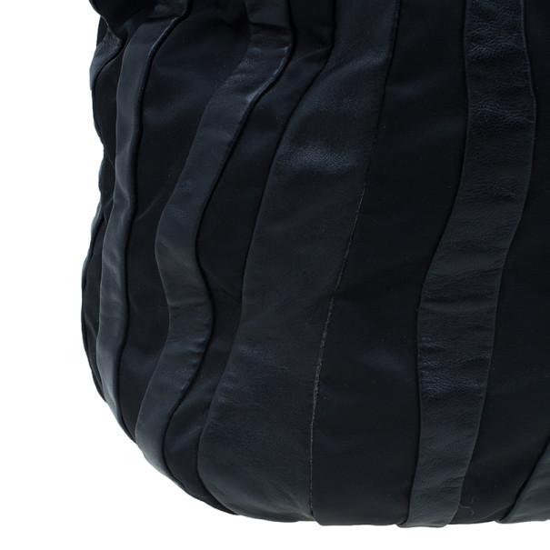 Prada Black Nylon and Leather Chain Tote