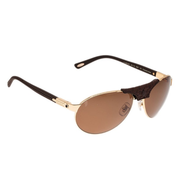 Chopard Gold and Brown SCH931 Polarized Aviators