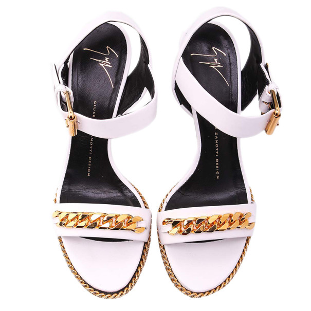 Giuseppe Zanotti White Leather Coline Chain Detail Wedge Sandals Size 38