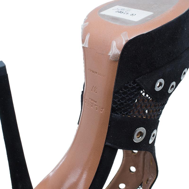 Azzedine Alaïa Black Suede Cutout Platform Sandals Size 37