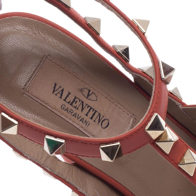 Valentino Peach Leather Rockstud Sandals Size 36.5