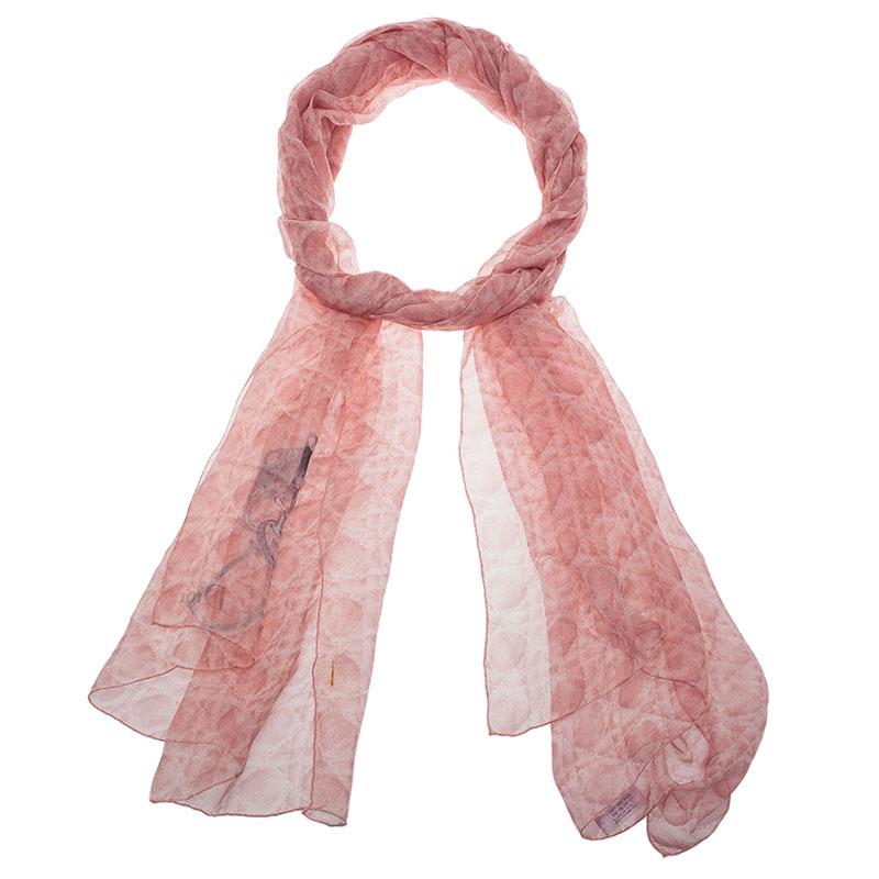 Dior Pink Cannage Print Silk Stole