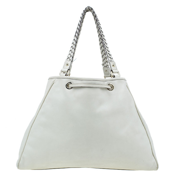 Gucci White Leather Peggy Large Drawstring Tote