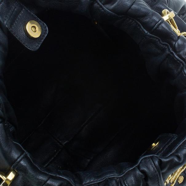 Prada Black Nappa Mordore Hobo