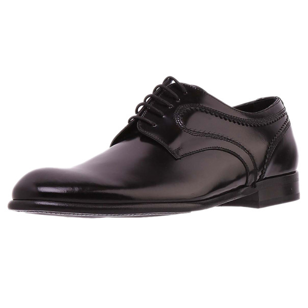 Dolce and Gabbana Black Patent Leather Oxfords Size 42