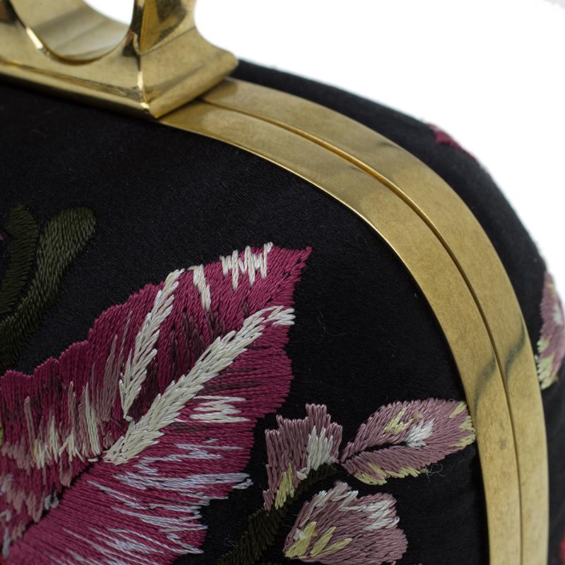 Alexander McQueen Black Satin Unicorn Knuckle Duster Clutch
