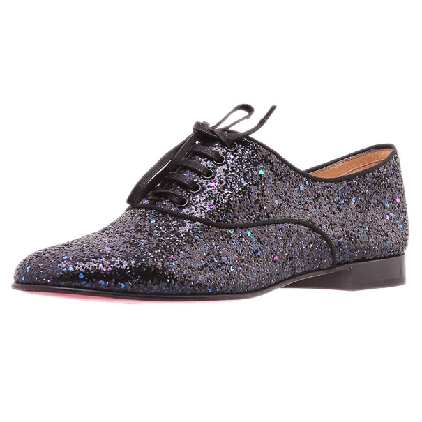 Christian Louboutin Black Glitter Fred Oxfords Size 38