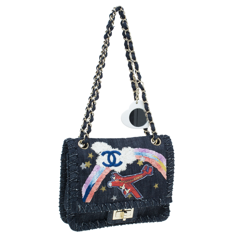 Chanel Black Denim Night Flight Mademoiselle Flap bag