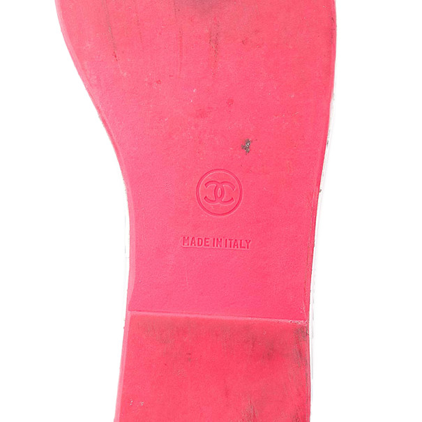 Chanel White Leather CC Cambon Slides Size 38