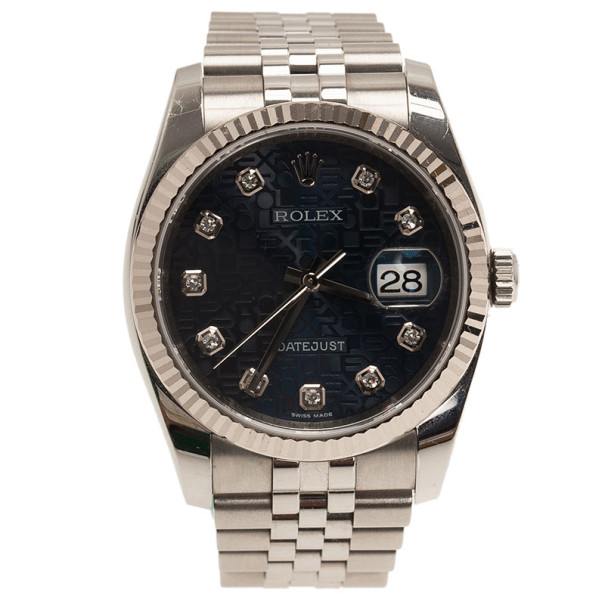 Rolex Blue Stainless Steel Datejust Women's Wristwatch 36MM