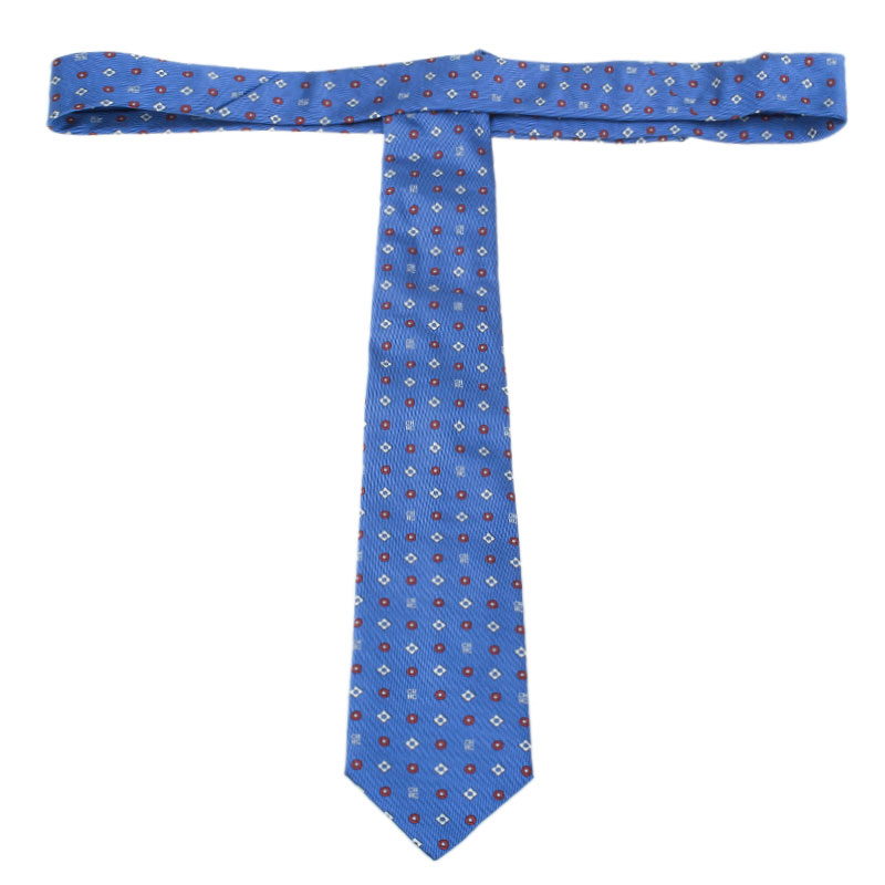 CH Carolina Herrera Blue Flower Printed Silk Tie